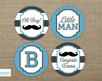 Little Man Baby Shower - Mustache Baby Shower - Mustache cupcake toppers - Little Man Printable - Mustache party - Baby Sprinkle - Boy Baby