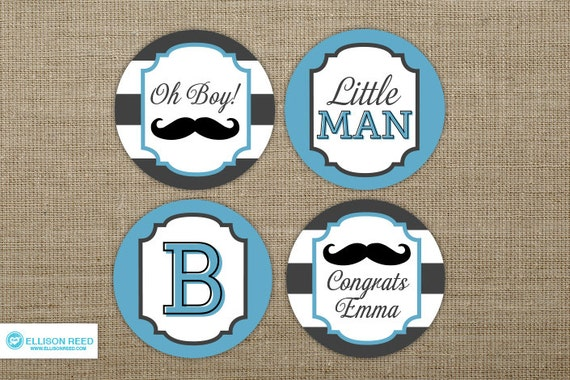 Little Man Mustache Baby Shower - Mustache cupcake toppers ...
