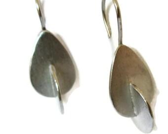 Geometric  Silver Earrings, Silver Teardrop Earrings, Mid-Century Modern Earrings, Artisan Handmade by Sheri Beryl