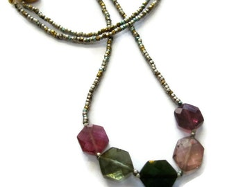 Pink Tourmaline Necklace Gemstone Necklace Blue Tourmaline Beaded Necklace, Rainbow Tourmaline Multi Color