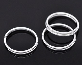 100pcs 16mm Silver Plated Split Ring - Jewelry Finding, Jewelry Making Supplies, DIY, Lead Nickle Free, 16 mm, Ships from USA - JR70