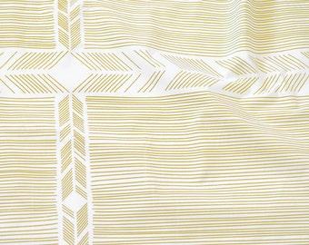 Biased in Mustard Yellow : organic cotton handprinted fabric panel