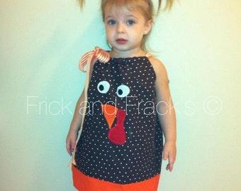 Turkey Pillowcase Dress, Turkey Face Dress, Thanksgiving Dress, Fall Dress, Toddler Thanksgiving Dress, Baby Thanksgiving Dress, Girl Dress
