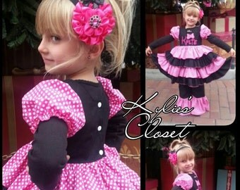 FREE US SHIPPING - Personalized Over the Top Minnie Mouse-inspired Boutique Ruffle Dress with Matching Ruffle Pants - Birthday - Costume