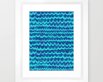 WAVES  Art Print, ocean, beach  by SchatziBrown