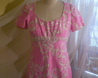 Vintage 1960s Pink and White Op Art Print Formal Dress