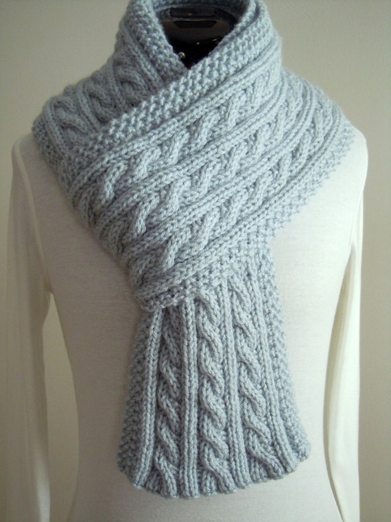Cable Knit scarf Light Blue