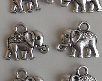 CLEARANCE 12 Antique Silver Elephant Pendant Earring Charm Phone Dangle (12) Tibetan Silver Style 14mm