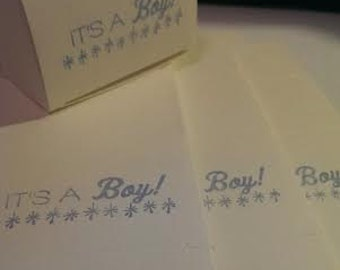 10 Tiny Its a Boy Gift Boxes Hand Stamped - Cream Box