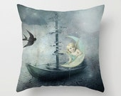 She heard a rumor of rain Pillow Cover, Vintage, Angel,Grey, Digital Art ,Unique, Whimsy, Lounge, Living, Home Decor, 18 x 18, 22 x 22