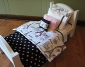 "Classy ""Paris"" Theme American Girl / 18"" doll sized bedding - pink / black"