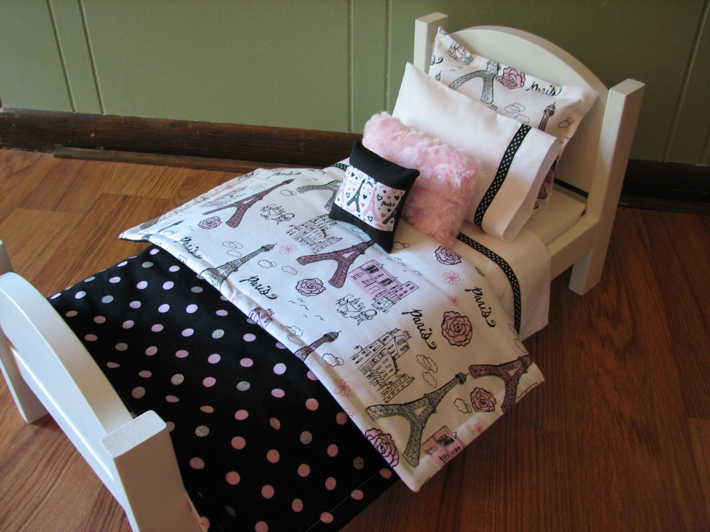 classy paris theme 18 doll sized bedding. Black Bedroom Furniture Sets. Home Design Ideas