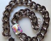 Anabel: Gunmetal doublewrap swarovski bracelet