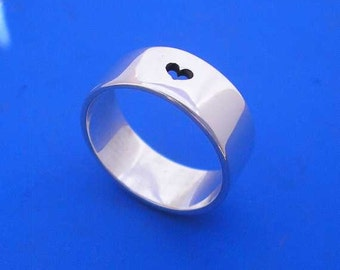 Silver Heart Ring , Hand Made Solid Silver