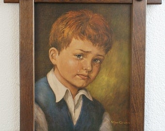 On Sale! A vintage Framed print of a Crying Boy, 1960s