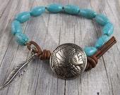 Mens native american bracelet, beaded leather bracelet, rustic bracelet, turquoise bracelet, wrap bracelet, stacking bracelet
