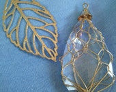 Pendant Set, Gold, Leaf, Wire Wrapped