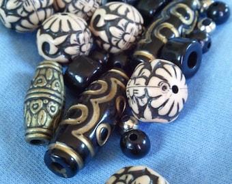 Bead Set, Tribal, Black, Brown, Brassy, Unisex, silver, Necklace Supplies