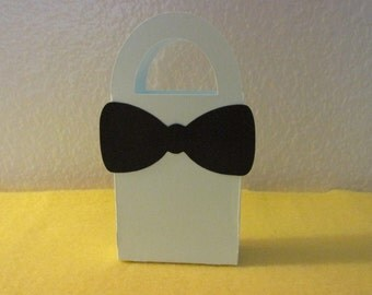 12 Mini Bow tie gift box/bag, powder blue with bow tie favor bags, mini favor bags