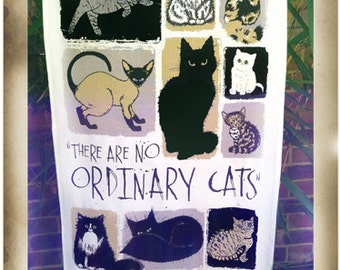There Are No Ordinary Cats cotton teatowel