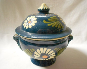 French Vintage Alsatian Royal Blue Floral Hand painted Lidded Stoneware Small Soup Tureen (A866)