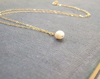 14K Gold Filled Genuine Freshwater Pearl Tiny Necklace Womans Delicate Whisper Necklace Simple Style Light Gold Filled Chain
