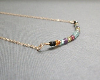 SAMPLE SALE 14K Gold Filled Gemstone Necklace Womans Delicate Small Whisper Necklace Simple Style Gold Filled Chain