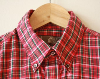 Boyfriend Shirt Bright Red - Pink Red John Henry Womens Small 15 - 32/33