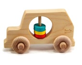 Wooden Car Rattle - Rattle and Roll Wooden Toy Car, Organic Baby Toy, Customizable
