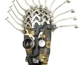 "Unique sculpture-""Well-Inked"" steampunk typewriter parts found object assemblage...signed by artist"