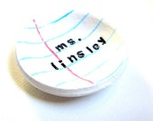 Personalized Gift for Teacher- paperclip dish- unique- lined paper dish - TheClayBeanCo