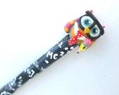 Geeky Owl Crochet Hook-- Polymer on Aluminum