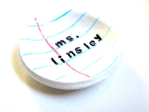 Personalized Gift for Teacher- paperclip dish- unique- lined paper dish