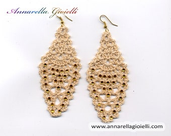 Crochet earrings #E187, ecrù, drop, handmade, shimmer, golden, thread, cotton, modern style, strass