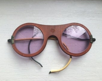 Wood Frame Safety Glasses : vintage steampunk safety glasses / wood frames with purple ...