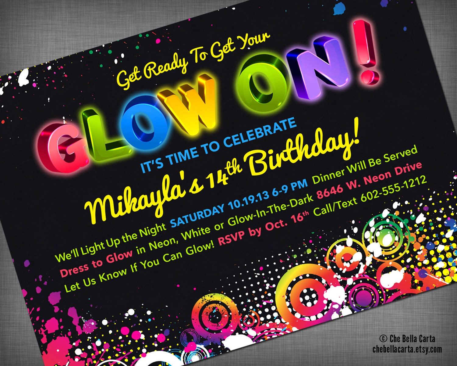 Glow Neon Black Light Party Customized Printable Invitation