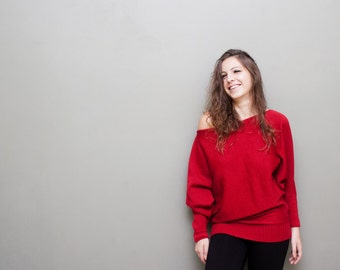 Rainy Traffic Red Sweater / Oversized Women Sweater / Knitwear / Maternity / europeanstreetteam / Red Batwing Sweater / Tunic /Top