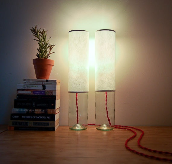 Pair of Column Table Lamps, Clear Base with Red Cord