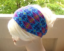 Aztec Tribal Turban Head Wrap Turband Blue Workout Headband Womens Headband Exercise Headband Yoga Hair Accessory Womens Gift Ideas for Her
