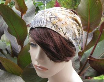 Batik Headband Fabric Headband Gypsy Headwrap Dread Wrap Women's Headband Broad Leaf Soft Earthy Colors Bandana Hair Accessory Gifts for Her
