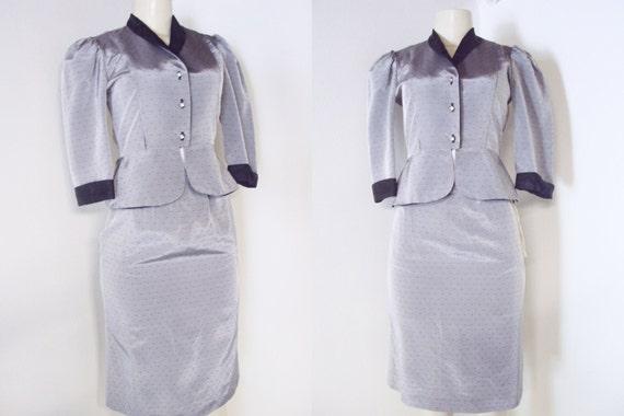Vintage 2 piece Taffeta Suit - Fitted Short Blazer & pencil skirt SM