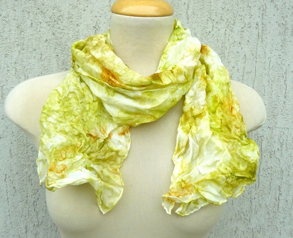 Hand painted silk scarf, shawl - Spring garden - apple green, olive, gold