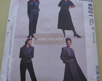 McCalls 6201 Pattern Misses' 1990's  lined Jacket,Top,Skirt and Pants 12-16 Vintage