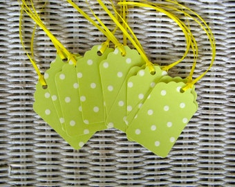 10 Green Polka Dot Gift Tags  -  Yellow Ties-Set of 10  - 2 x 3 1/4 inches  -Handcrafted