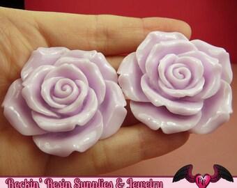 2 pcs 42mm Lavender Purple ROSES Resin Flower Cabochons / Decoden Flatback Cabochon