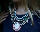 SALE Caroline - Fancy Swarovski Crystals and Acrylic Rhinestones Statement Necklace, Wedding Necklace - Ready to Ship