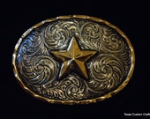 IN STOCK Hand Engraved  Western Floral Trophy Buckle with Brass Star