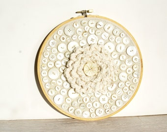 Embroidery Hoop Art, Upcycled Crochet And Vintage Shell Button Wall Art, Marshmallow Wedding Cake, Silver, Cream, White, Natural, Neutral