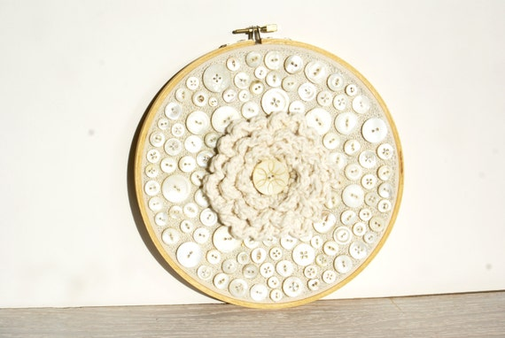 Embroidery hoop art upcycled crochet and vintage shell button