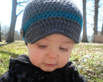 PATTERN:  Wiseguy Hat- Easy Crochet, Newborn to Adult, newsboy visor button bow, beanie, InStAnT DoWnLoAd, Permission to Sell